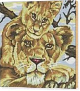 Lioness And Son Wood Print