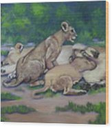 Lioness With Cubs Wood Print