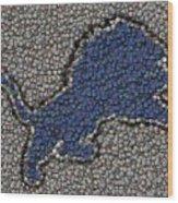 Lions Bottle Cap Mosaic Wood Print by Paul Van Scott