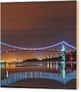 Lions Gate Bridge At Night 2 Wood Print
