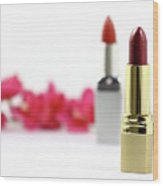 Lipsticks And Flowers. Isolated Wood Print
