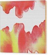 Liquid Fire Watercolor Abstract II Wood Print