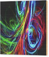 Liquid Neon Wood Print