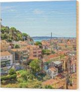 Lisbon Aerial View Wood Print