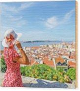 Lisbon Castle Woman Wood Print