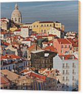Lisbon Cityscape In Portugal At Sunset Wood Print