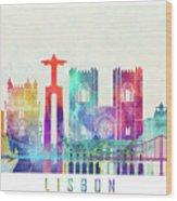 Lisbon Landmarks Watercolor Poster Wood Print