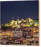 Lisbon Night Background Wood Print