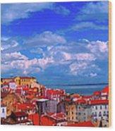 Lisbon Panorama Wood Print