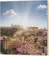 Lisbon Panoramic View To Afama Wood Print
