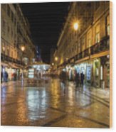 Lisbon Portugal Night Magic - Nighttime Shopping In Baixa Pombalina Wood Print