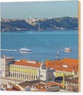 Lisbon Tagus River Skyline Wood Print