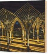 Lisbon Train Station At Night Wood Print