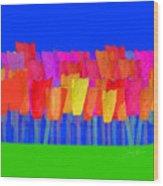 Lisse - Tulips Blue On Green Wood Print