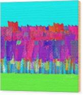 Lisse - Tulips Lighter Blue On Gree Wood Print
