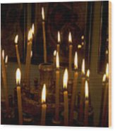 lit Candles in church  Wood Print