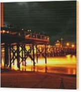 Lit Pier Wood Print