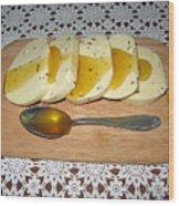 Lithuanian National Food. Cottage Cheese With Honey. Wood Print
