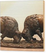 Litigation  Bronze Sculpture Of Two American Bison Bulls Fighting Wood Print