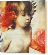 Little Angel With Rose Wood Print