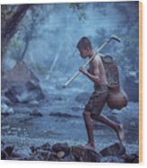 Little Asian Kid Fishing In The River Countryside Thailand. Wood Print