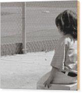 Little Baseball Brother Wood Print