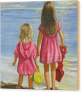 Little Beachcombers Wood Print by Joni McPherson