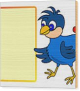 Little Bird With Message Board Wood Print