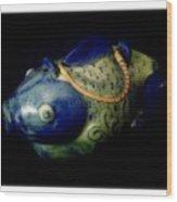 Little Blue And White Fish Tea Pot Still Life Wood Print