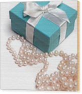 Little Blue Gift Box And Pearls Wood Print