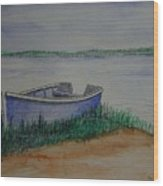 Little Blue Skiff Wood Print by Ron Sylvia