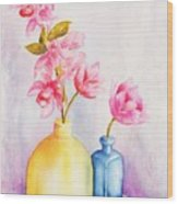 Little Blue Vase Wood Print
