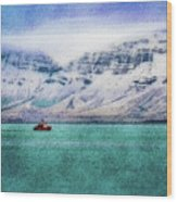 Little Boat In Reykjavik Bay Wood Print