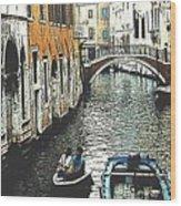 Little Boat In Venice Wood Print