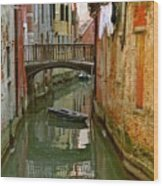 Little Boat On Canal In Venice Wood Print