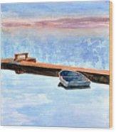 Little Boat On Foggy Lake II Wood Print