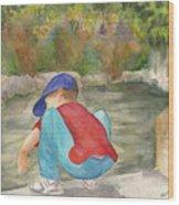 Little Boy At Japanese Garden Wood Print