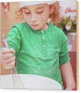 Little Boy Making Christmas Cookies Wood Print