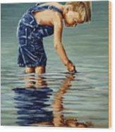 Little Boy Reflection Wood Print