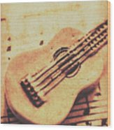 Little Carved Guitar On Sheet Music Wood Print
