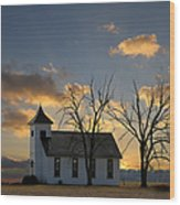 Little Church On The Prairie Wood Print