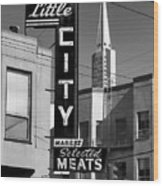 Little City Market North Beach San Francisco Bw Wood Print