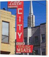 Little City Sign North Beach Wood Print