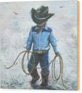Little Cowboy Lasso Wood Print