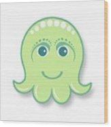 Little cute green octopus Wood Print