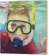 Little Diver Wood Print