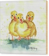 Little Ducks Wood Print