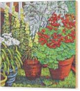 Little Flower Pot Garden Wood Print