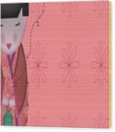 Little Geisha Pink Wood Print
