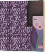 Little Geisha Purple Wood Print